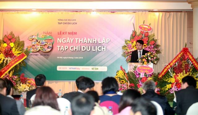 Tổng Giám Đốc Phạm Minh Tú phát biểu tài trợ cho Tạp chí Du lịch kỷ niệm 35 năm thành lập