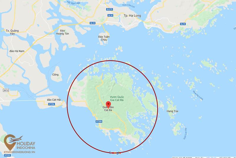 Vị trí đảo Cát Bà so với Thành phố Hạ Long và đảo Cát Hải